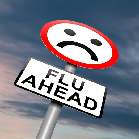 flu vaccines: Illustration depicting a roadsign with a flu concept. Cloudy dusk background.