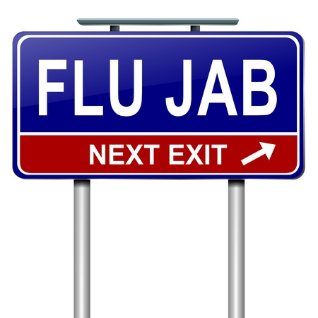 flu: Illustration depicting a roadsign with a flu jab concept. White background.