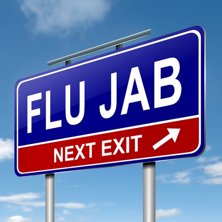 booster: Illustration depicting a roadsign with a flu jab concept. Blue sky background.