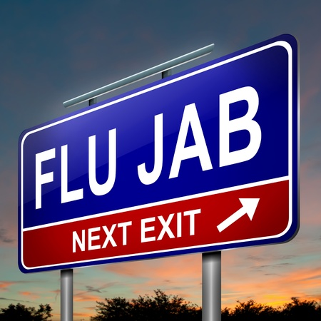 flu prevention: Illustration depicting an illuminated roadsign with a flu jab concept. Dark sky background. Stock Photo