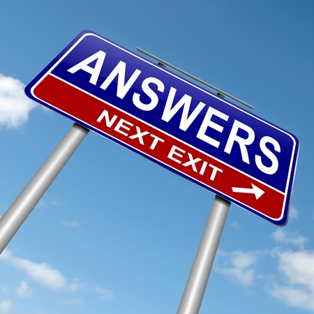 problem solving: Illustration depicting a roadsign with an answers concept. Blue sky background. Stock Photo