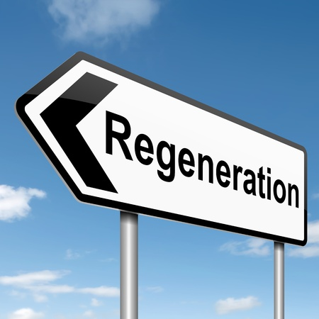 reformation: Illustration depicting a roadsign with a regeneration concept. Blue sky background. Stock Photo