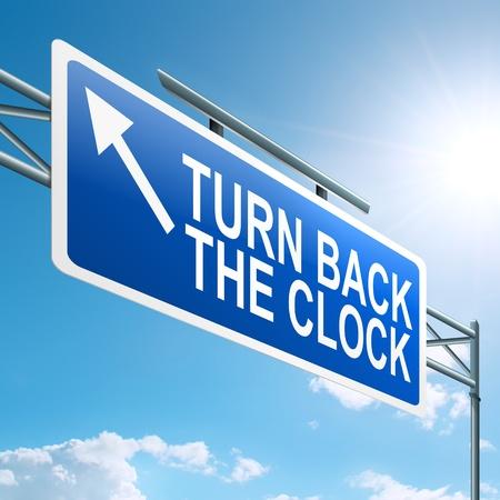 pentimento: Illustrazione raffigurante un cartello stradale con un giro indietro l'orologio concetto sfondo blu cielo Archivio Fotografico