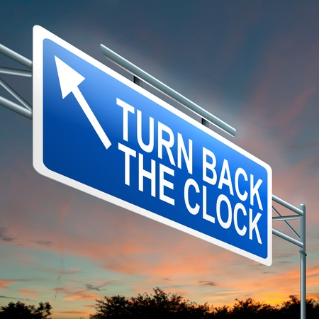 Illustration depicting an illuminated roadsign with a turn back the clock concept  Dark sunset sky background  illustration