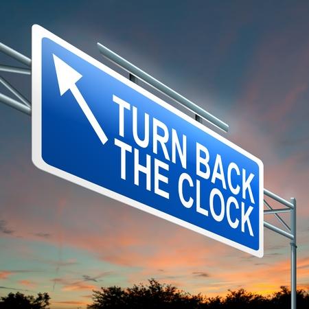 pentimento: Illustrazione raffigurante un cartello luminoso con un giro indietro l'orologio concetto Sfondo scuro tramonto cielo
