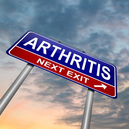 Illustration depicting a roadsign with an arthritis concept  Dusk sky  background