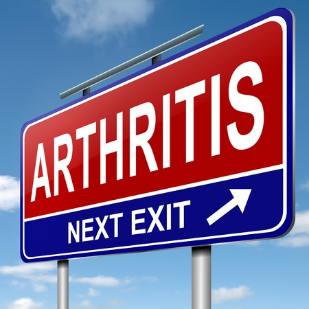 Illustration depicting a roadsign with an arthritis concept  Blue sky background