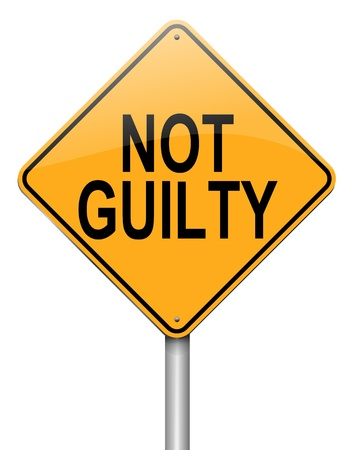 ruling: Illustration depicting a roadsign with a not guilty concept  White background