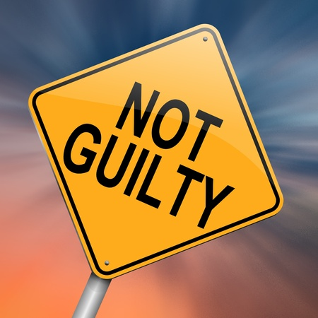 acquittal: Illustration depicting a roadsign with a not guilty concept  Abstract background