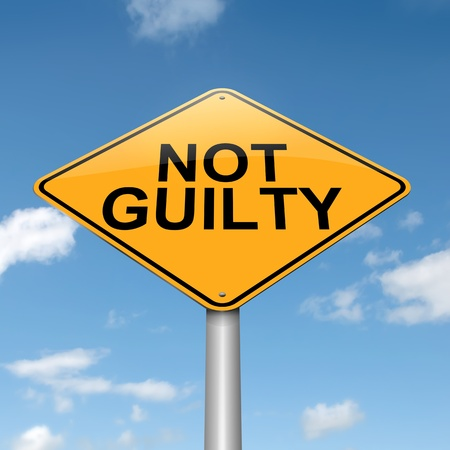 ruling: Illustration depicting a roadsign with a not guilty concept  Blue sky  background