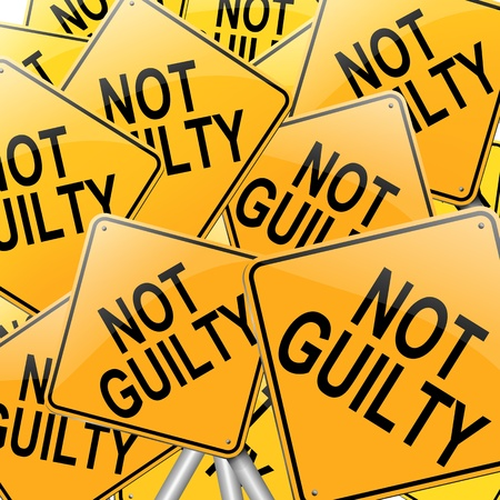 acquittal: Illustration depicting many roadsigns with a not guilty concept