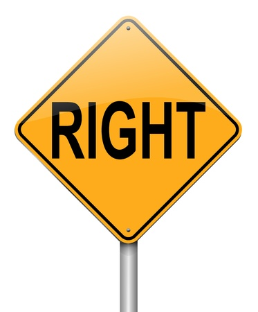 justified: Illustration depicting a roadsign with a right concept  White background