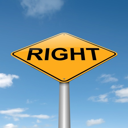 righteous: Illustration depicting a roadsign with a right concept  Blue sky background