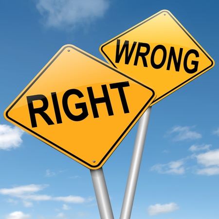 incorrect: Illustration depicting two roadsigns with a right or wrong concept  Blue sky background  Stock Photo