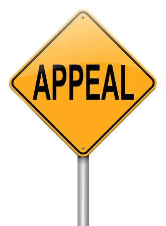 appeals: Illustration depicting a roadsign with an appeal concept. White background.