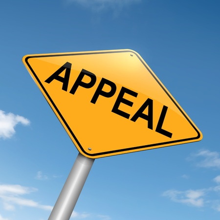 appeal: Illustration depicting a roadsign with an appeal concept. Sky background.
