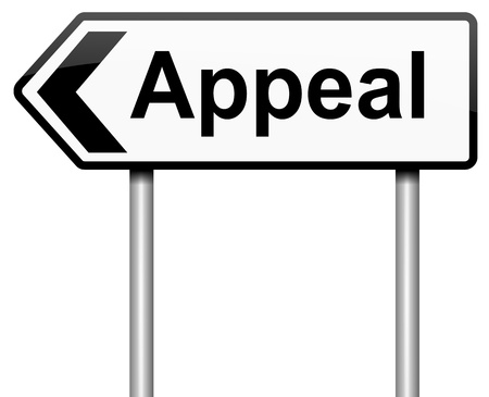 appeal: Illustration depicting a roadsign with an appeal concept. White background.