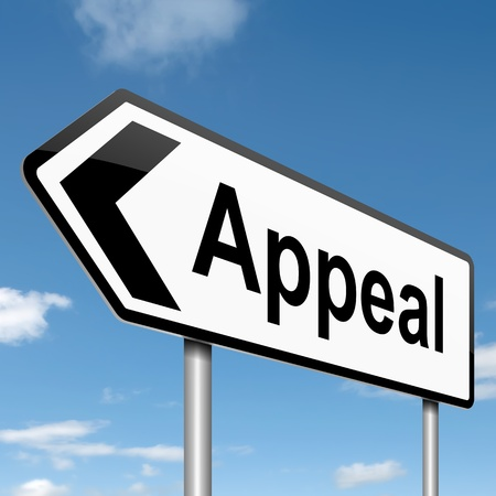 appeals: Illustration depicting a roadsign with an appeal concept. Sky background.