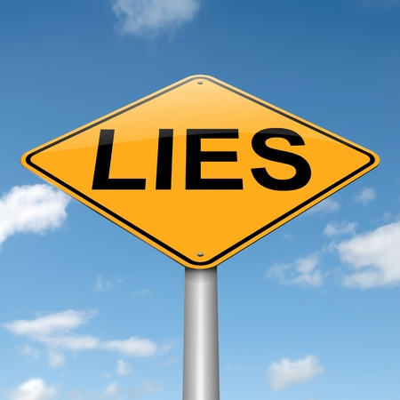 dishonesty: Illustration depicting a roadsign with a lies concept. Sky background. Stock Photo