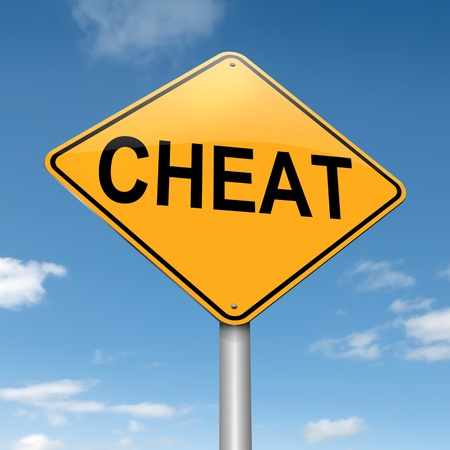 cheat: Illustration depicting a roadsign with a cheat concept. Sky background.