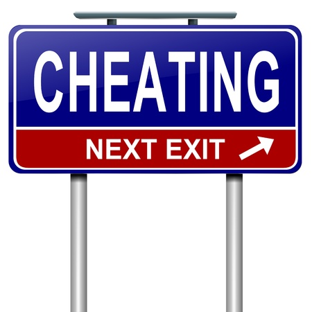 cheat: Illustration depicting a roadsign with a cheating concept. White background. Stock Photo