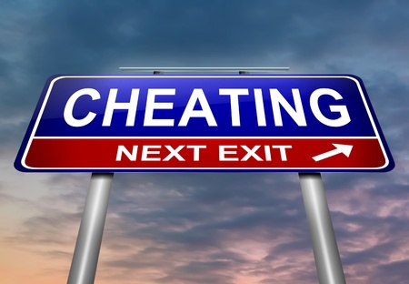 Illustration depicting a roadsign with a cheating concept. Sky background.