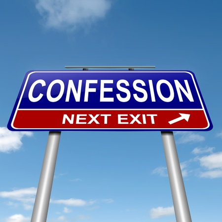confession: Illustration depicting a roadsign with a confession concept. sky background. Stock Photo