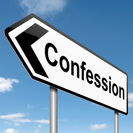 acknowledgment: Illustration depicting a roadsign with a confession concept. sky background. Stock Photo