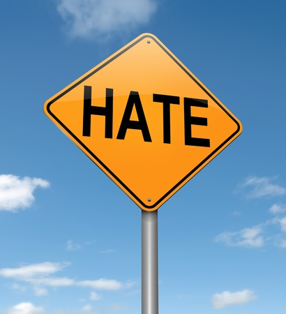 hatred: Illustration depicting a roadsign with a hate concept. Sky background.