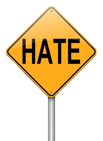 hatred: Illustration depicting a roadsign with a hate concept. White background.