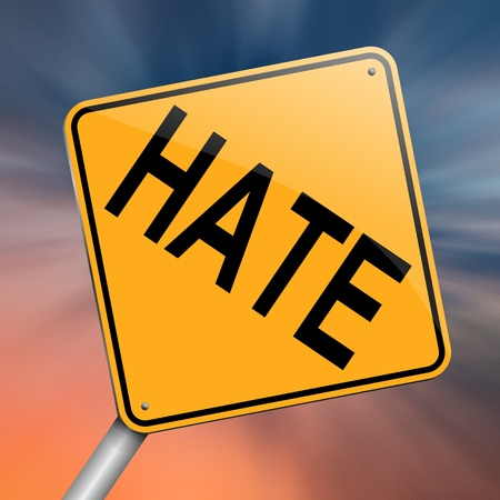 revulsion: Illustration depicting a roadsign with a hate concept. Abstract background. Stock Photo