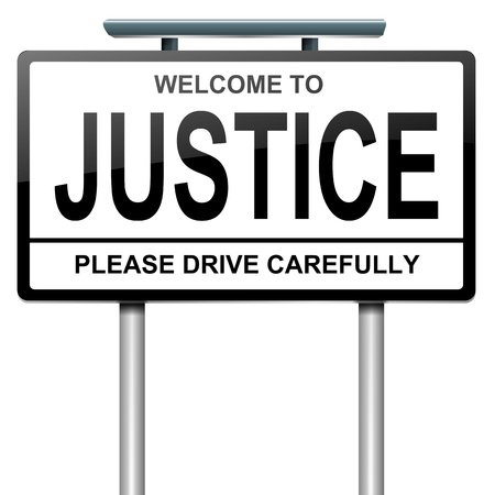 fair trial: Illustration depicting a roadsign with a justice concept. White background.