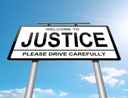 Illustration depicting a roadsign with a justice concept. Sky background. Stock Illustration - 15219531