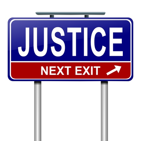 justness: Illustration depicting a roadsign with a justice concept. White background.