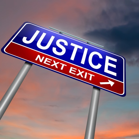 Illustration depicting an illuminated roadsign with a justice concept. Dark sunset sky background.