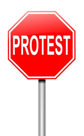 disapproval: Illustration depicting a roadsign with a protest concept. White background.