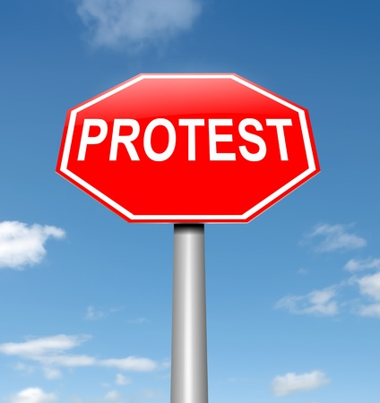 Illustration depicting a roadsign with a protest concept. Sky background. Stock Illustration - 15219495