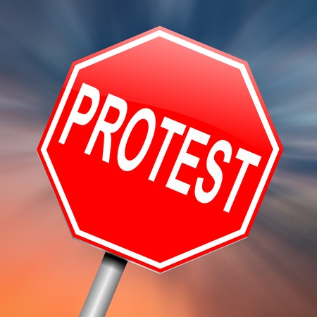 gripe: Illustration depicting a roadsign with a protest concept. Abstract background.