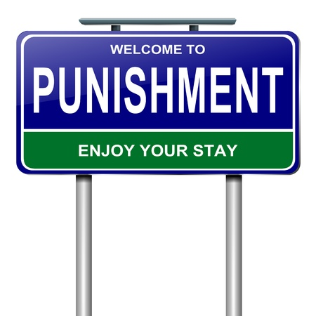 tough: Illustration depicting a roadsign with a punishment concept. White background.