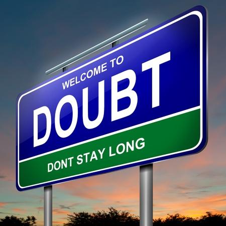 desconfianza: Ilustración que representa un roadsign iluminado con un concepto de la duda. Anochecer fondo del cielo.