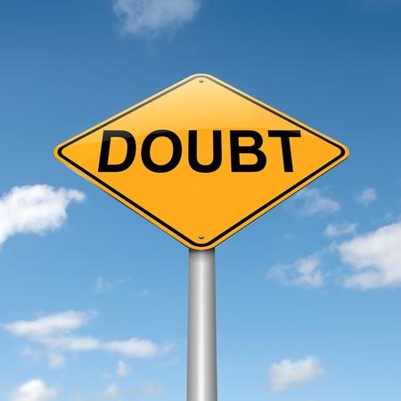 desconfianza: Ilustración que representa un roadsign con un concepto de duda. Sky fondo.