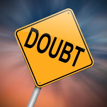 desconfianza: Ilustración que representa un roadsign con un concepto de duda. Resumen de antecedentes.