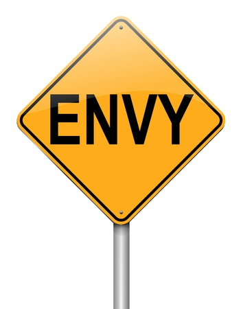 spite: Illustration depicting a roadsign with an envy concept. White background.