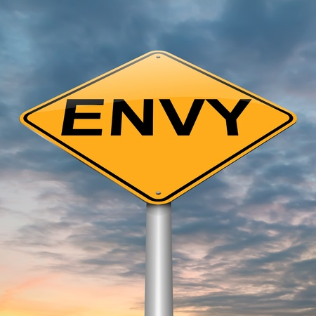 spite: Illustration depicting a roadsign with an envy concept. Sky background.