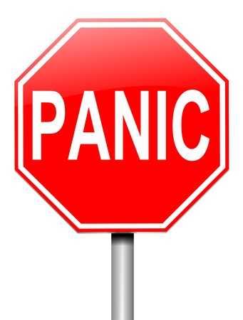 freaked out: Illustration depicting a roadsign with a panic concept. White  background. Stock Photo