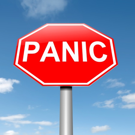 alarmed: Illustration depicting a roadsign with a panic concept. Sky background. Stock Photo