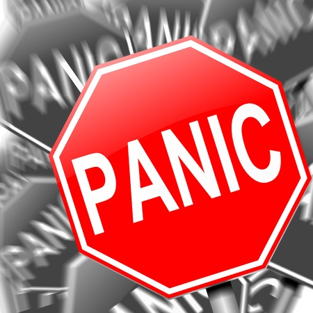 panique: R�sum� illustration repr�sentant de nombreux panneaux de signalisation avec un concept de panique.