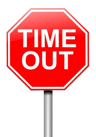 Illustration depicting a roadsign with a time out concept. White  background. illustration