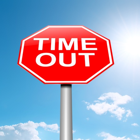 Illustration depicting a roadsign with a time out concept. Sky background.
