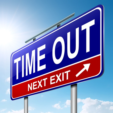 time out: Illustration depicting a roadsign with a time out concept. Sky background. Stock Photo